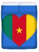 Flag Of Cameroon Heart Duvet Cover