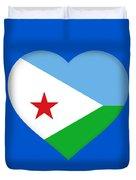 Flag Of Djibouti Heart Duvet Cover