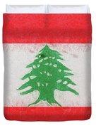 Flag Of Lebanon Grunge Duvet Cover