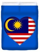Flag Of  Malaysia Heart Duvet Cover