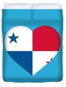 Flag Of Panama Heart  Duvet Cover