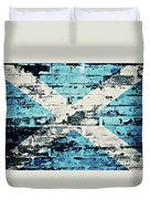 flag of Scotland painted on old brick wall Duvet Cover