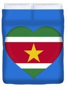 Flag Of Suriname Heart  Duvet Cover