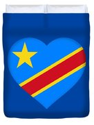 Flag Of The Congo Heart Duvet Cover