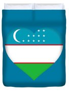 Flag Of Uzbekistan Heart Duvet Cover