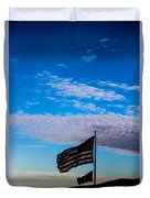 Flag With The Clouds Duvet Cover