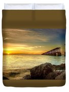 Flagler Bridge At Sunset Duvet Cover