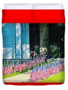 Flags Along The Walkway Duvet Cover
