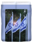 Flags Of Israel Blowing In The Wind Duvet Cover