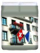 Flags Of Switzerland And Zurich Duvet Cover