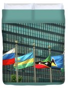 Flags Of Various Nations Outside The United Nations Building. Duvet Cover