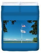 Flags On The Shoreline Duvet Cover