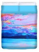 Flagstaff Lake Winter Sunset Duvet Cover