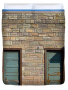 Flagstone Wall And Two Green Doors Duvet Cover