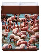 Flamboyance Of Flamingos Duvet Cover