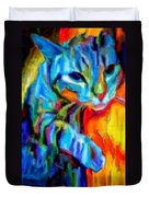 Flaming Blue And Orange Kitty Cat Tiger Resting Gently From The Prowl Duvet Cover