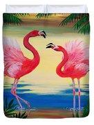 Flamingo Courtship Dance Duvet Cover