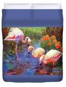 Flamingo Tangerine Dream Duvet Cover