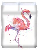 Flamingo Watercolor Facing Right Duvet Cover