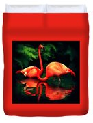 Flamingos - 1 H B Duvet Cover