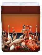 Flamingos At The Cape Duvet Cover