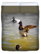 Flapping Lesser Scaup Duvet Cover