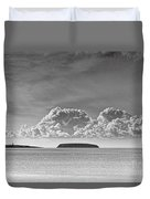 Flat Holm And Steep Holm Mono Duvet Cover