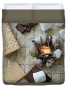 Flat Lay Camp Fire S'mores Deconstructed Duvet Cover