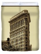 Flatiron Building In Sepia Duvet Cover