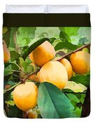 Fleshy Yellow Plums On The Branch Duvet Cover