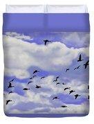 Flight Over Lake Duvet Cover
