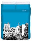 Flint Michigan Skyline - Aqua Duvet Cover