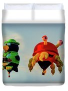 Floating Aerial Photographer And The Smiling Crab Duvet Cover