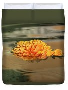 Floating Beauty - Hot Orange Chrysanthemum Blossom In A Silky Fountain Duvet Cover