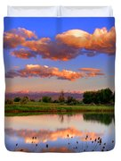 Floating Clouds And Reflections Duvet Cover