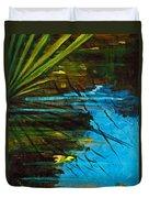 Floating Gold On Reflected Blue Duvet Cover