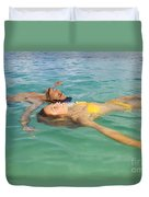 Floating Young Couple Duvet Cover by Tomas del Amo - Printscapes