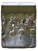 Flock Of Different Types Of Wading Birds Duvet Cover