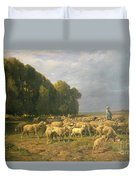 Flock Of Sheep In A Landscape Duvet Cover by Charles Emile Jacque