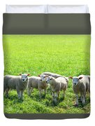 Flock Of Sheep Standing In A Field Waiting Duvet Cover