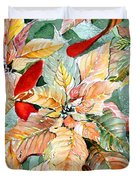 A Peachy Poinsettia Duvet Cover