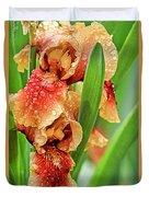 Floral Bearded Iris With Rain Drops  Duvet Cover