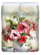 Floral Bouquet Table Setting In Tiny Bubbles Duvet Cover