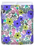 Floral Burst Of Blue Duvet Cover