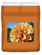 Floral Dahlia Flower Art Print Orange Red Dahlias Baslee Duvet Cover