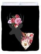 Floral Deer On Black Duvet Cover