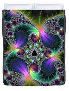 Floral Fractal Art Jewel Tones Vertical Duvet Cover