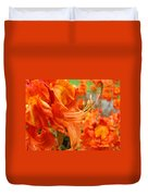 Floral Garden Art Prints Orange Rhododendrons Baslee Troutman Duvet Cover