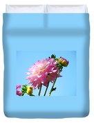 Floral Landscape Art Print Pink Dahlia Flower Blue Sky Canvas Baslee Troutman Duvet Cover