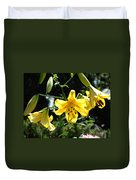 Floral Lilies Art Yellow Lily Flowers Giclee Baslee Troutman Duvet Cover